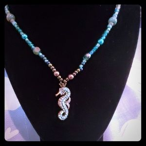 Handmade necklace with seahorse charm